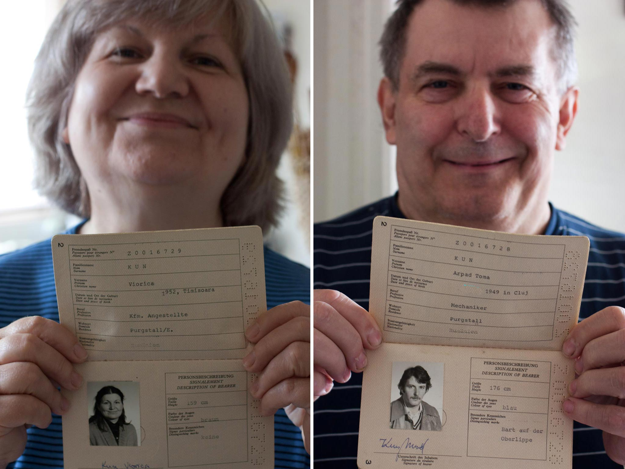 mom and dad in 2011, close ups holding their refugee passports from Austria in 1981